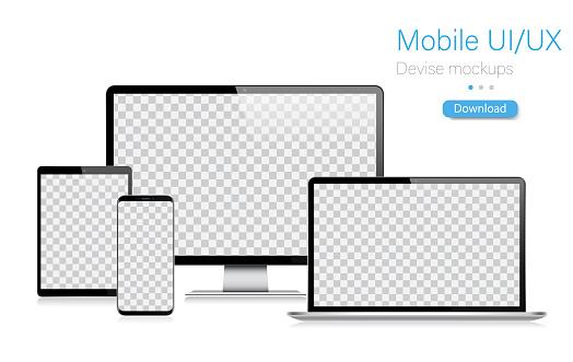 Realistic Vector Mockup Digital Tablet, Mobile Phone, Smart Phone, Laptop and Computer Monitor. UI / UX design. Vector illustration, modern digital devise, digital template. Stock illustration. EPS 10.