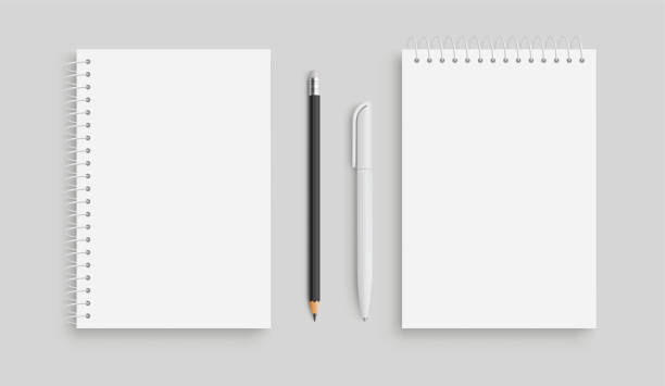 realistic vector notebook and white pancil, pen. front view. - stock vector. - notatka stock illustrations