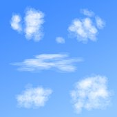 Set of vector clouds of different forms on blue background.
