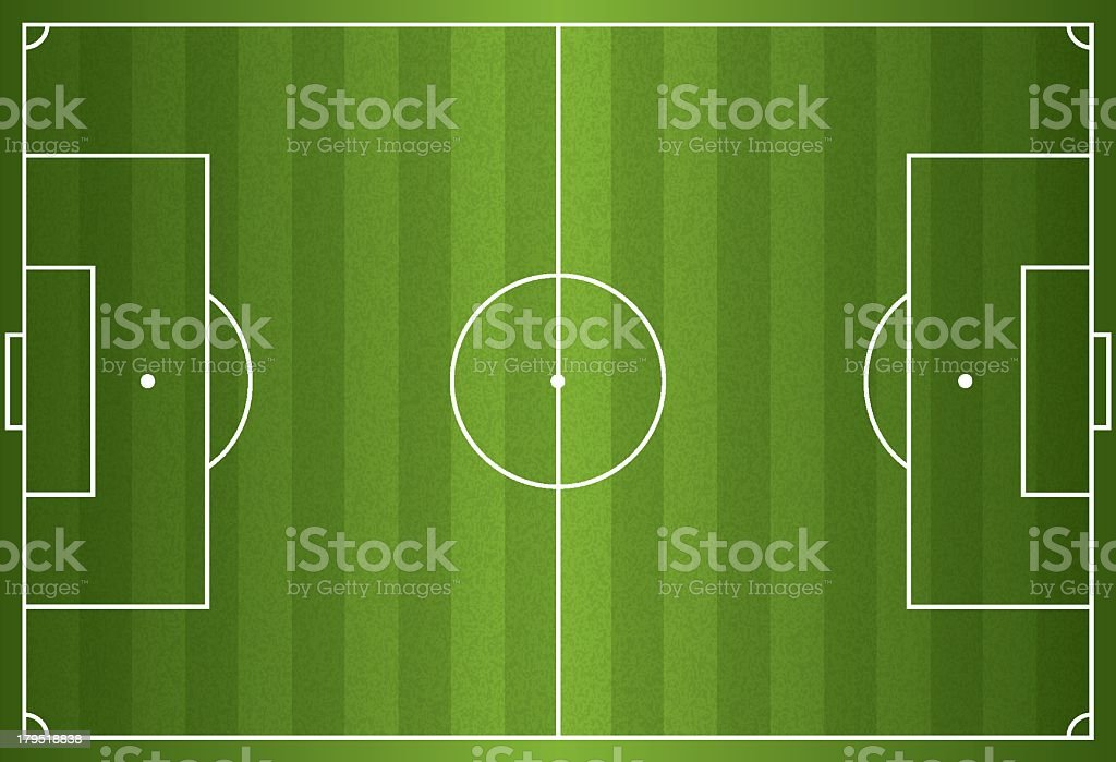 Realistic vector of a football or soccer field vector art illustration