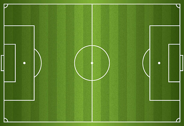 realistic vector of a football or soccer field - football field stock illustrations