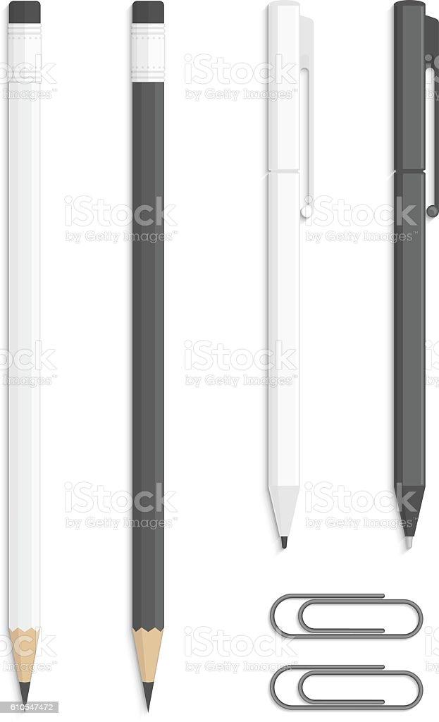Realistic vector pencils and pen. vector art illustration