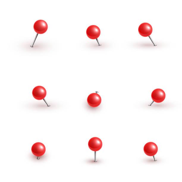 realistische vektor kunststoff glänzend rot push-pins in verschiedenen winkeln setzen nadel. - heftzwecke stock-grafiken, -clipart, -cartoons und -symbole