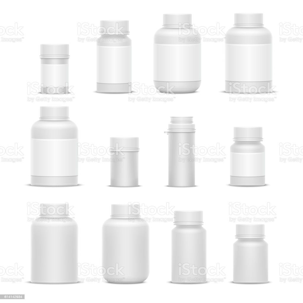 Realistic vector plastic packaging medicine bottles for cosmetics vitamins pills vector art illustration