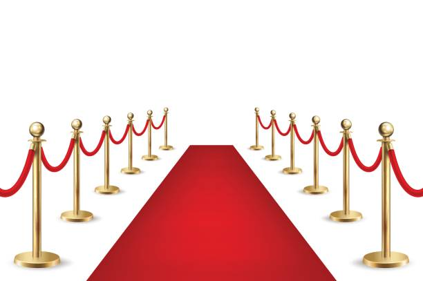 Realistic vector red event carpet and silver barriers isolated on white background. Design template, clipart in EPS10 Realistic vector red event carpet and silver barriers isolated on white background. Design template, clipart, EPS10 illustration. premiere event stock illustrations