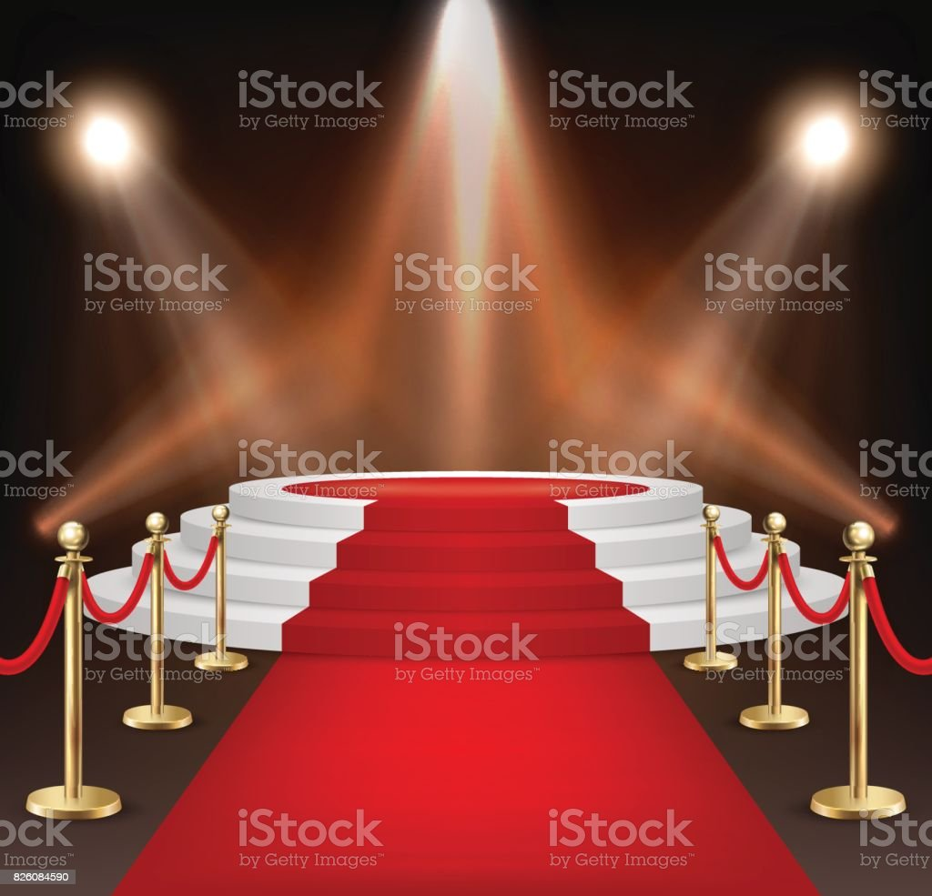 Realistic Vector Red Event Carpet Gold Barriers And White Stairs