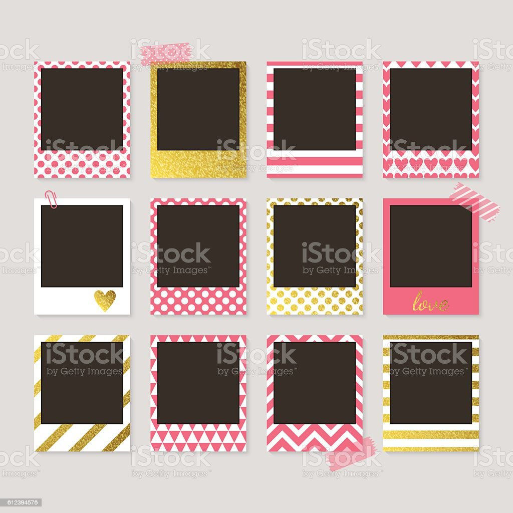 Realistic vector retro photo frames with gold, pink and white – Vektorgrafik