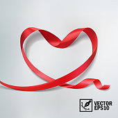 3D realistic vector ribbon wrapped in the shape of a heart, a card for celebrations and World Heart Day