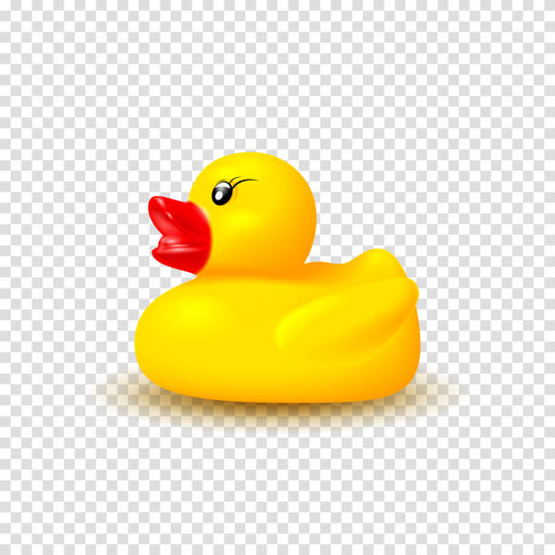Realistic vector rubber duck Realistic vector rubber duck. Vector illustration with 3d rubber duck isolated on checkered background. Realistic yellow kid toy. duckling stock illustrations