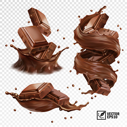 3D realistic vector set, horizontal and vertical splash of chocolate, cocoa or coffee, pieces of chocolate bar, swirl and drop