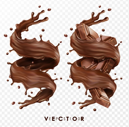 Realistic vector set, horizontal and vertical splash of chocolate, cocoa or coffee, Vector 3D pieces of chocolate bar, swirl and drop EPS 10