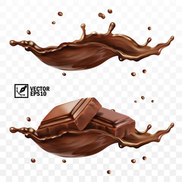 3d realistische vektor-set, horizontale spritzer schokolade, kakao oder kaffee, stücke von schokoladenriegel - schokolade stock-grafiken, -clipart, -cartoons und -symbole