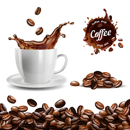 Realistic vector set of elements, coffee beans background