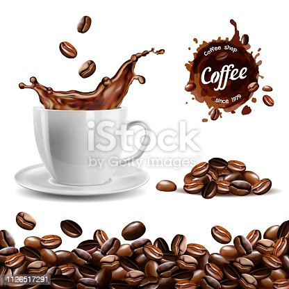Realistic vector set of elements (coffee beans background, coffee cup, a coffee splash, pile and stain)