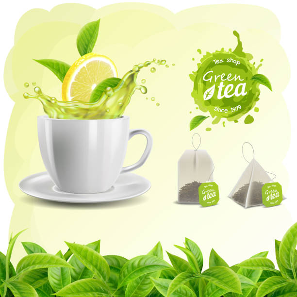 ilustrações de stock, clip art, desenhos animados e ícones de realistic vector set of elements (tea leaf background, tea cup, a tea and lemon splash, tea bags and stain, logo) - chá bebida quente