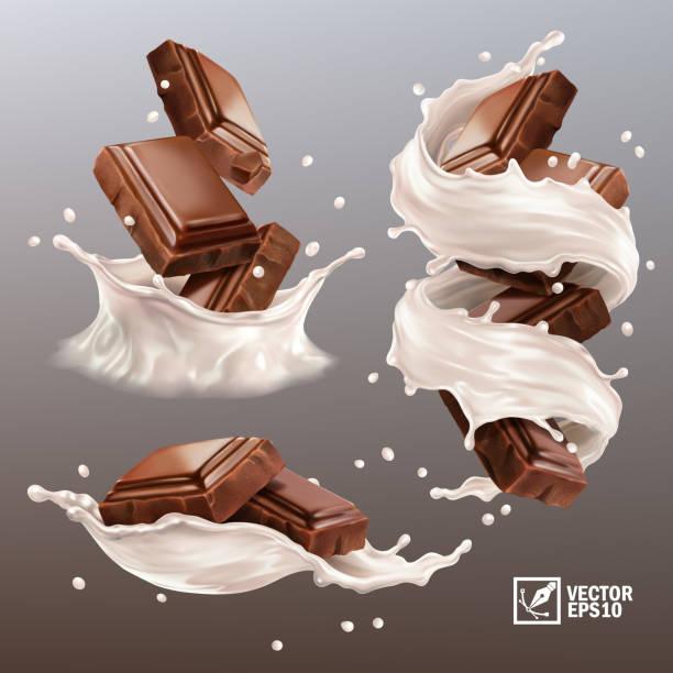 stockillustraties, clipart, cartoons en iconen met 3d realistische vector set, splash van chocolade stukjes in een spray van melk of yoghurt, cacao of koffie, swirl en drop - vanille