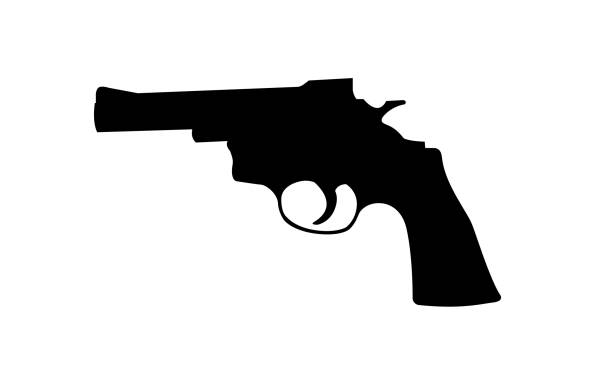 Realistic vector silhouette of revolver isolated on white background. Realistic vector silhouette of revolver isolated on white background. pistol stock illustrations
