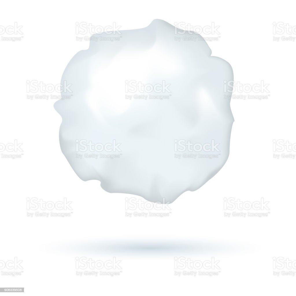 Realistic vector snowball, winter symbol, ice ball for playing, shadow, isolated on white background. vector art illustration