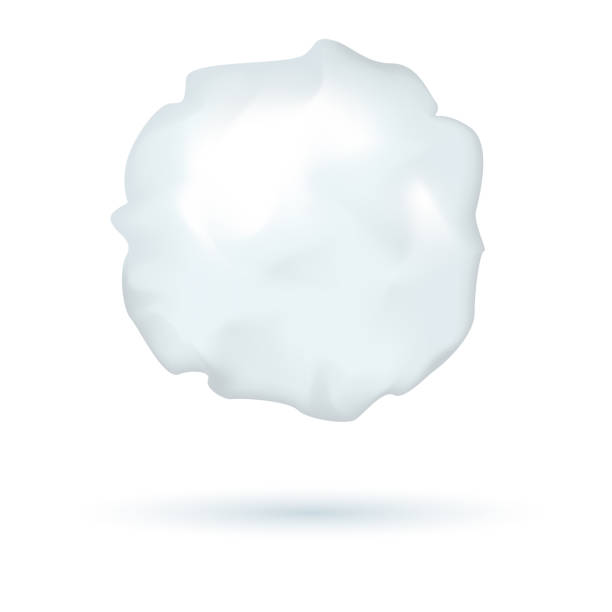 illustrazioni stock, clip art, cartoni animati e icone di tendenza di realistic vector snowball, winter symbol, ice ball for playing, shadow, isolated on white background. - grandine