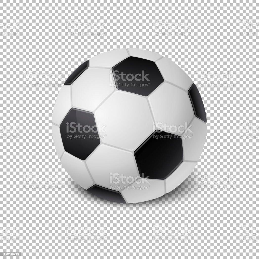 Realista vector futbol bola icono acercamiento aislado sobre fondo de cuadrícula de transparencia. Plantilla de diseño de equipo de deportes de aplicación, web, etcetera. Imágenes Prediseñadas, maqueta etcetera - ilustración de arte vectorial