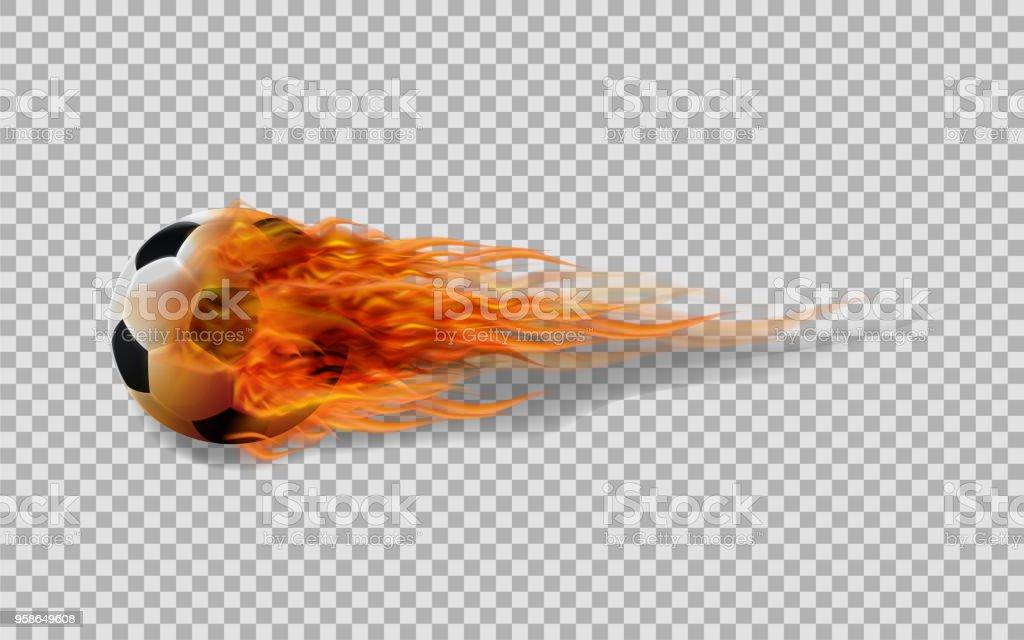 Bola de futebol realista vector em fogo no fundo transparente. - ilustração de arte em vetor