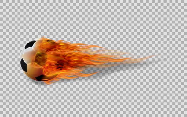 bildbanksillustrationer, clip art samt tecknat material och ikoner med realistisk vektor fotboll i brand på transparent bakgrund. - fotboll eld