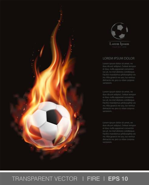 bildbanksillustrationer, clip art samt tecknat material och ikoner med realistisk vektor fotboll på eld och för football club, badge mall - fotboll eld