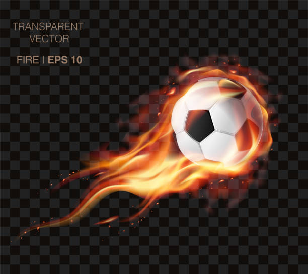 bildbanksillustrationer, clip art samt tecknat material och ikoner med realistisk vektor fotboll på brand- och logotypen för football club, badge mall - fotboll eld