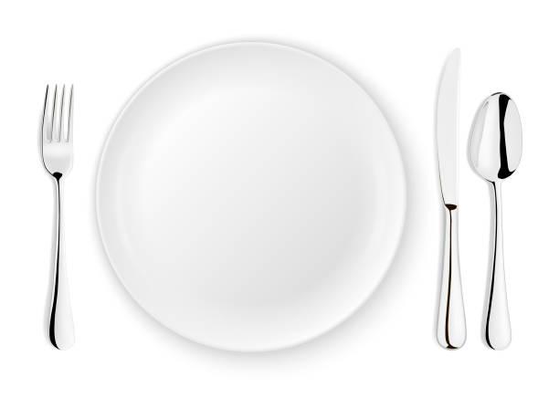 bildbanksillustrationer, clip art samt tecknat material och ikoner med realistisk vektor sked, gaffel, kniv och maträtt tallrik närbild isolerad på vit bakgrund. utforma mallen eller håna upp. ovanifrån - empty plate