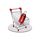 istock Realistic Vector Supermarket Cart with a Big Sale Percentage 3D Sign 1310838863