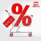 istock Realistic Vector Supermarket Cart with a Big Sale Percentage 3D Sign 898648632