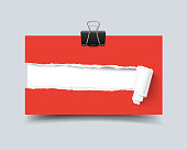 Realistic vector template business card hole in paper with torn