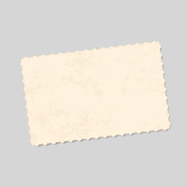 bildbanksillustrationer, clip art samt tecknat material och ikoner med realistiska vector mall vintage foto med mönstrade kanter och fläckar av ålderdom. isolerad för design - ancient white background