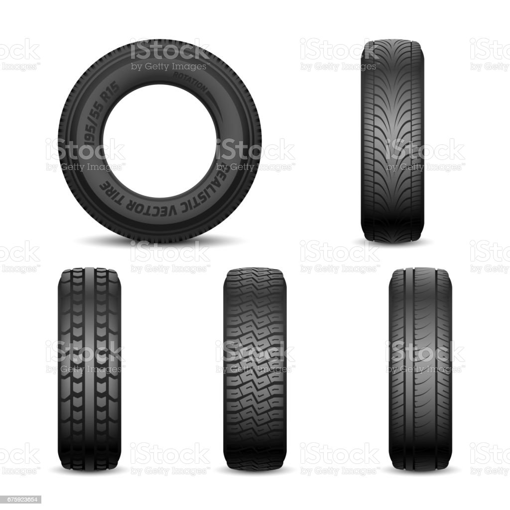 Realistic vector tires with different tread marks vector art illustration