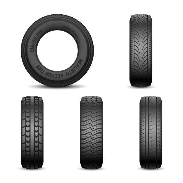 Realistic vector tires with different tread marks Realistic vector tires with different tread marks Auto black rubber tyre, illustration of car tyre for wheel tires stock illustrations