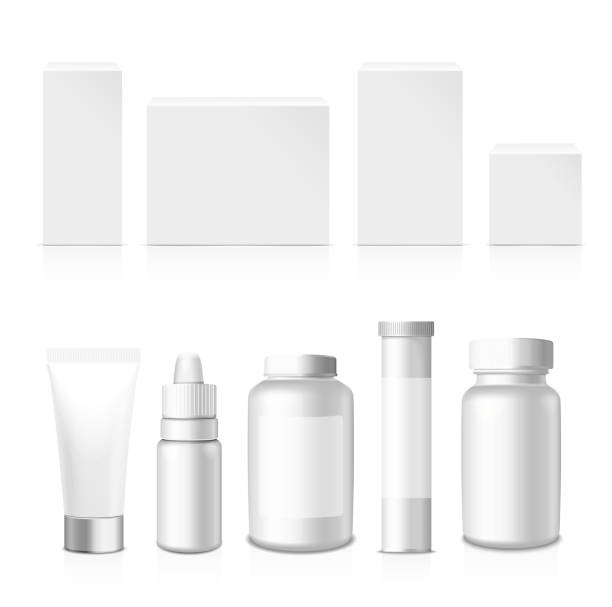 Realistic vector Tubes, Jar And Package. Realistic Tubes, Jar And Package. Packing White Cosmetics And Medicines Isolated On White Background. You Can Use It For Tube Of Creams, Medication, Chemical, Gel,  Ointments Or Any Other Product aspirin stock illustrations