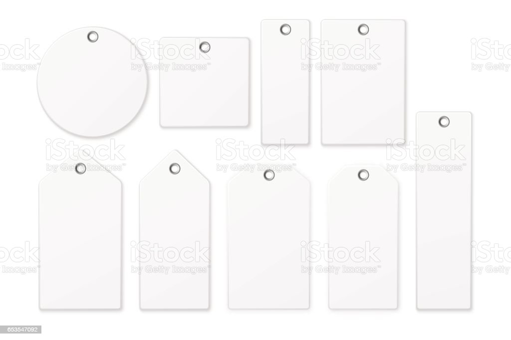 Realistic vector white blank tag icon set isolated on white background. Design template EPS10 vector art illustration