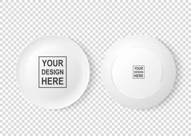 bildbanksillustrationer, clip art samt tecknat material och ikoner med realistisk vektor vit mat maträtt tallrik icon set fram- och bakifrån närbild isolerade på öppenhet rutnät bakgrund. designmall, håna upp för grafik, skriva ut etc. ovanifrån - empty plate