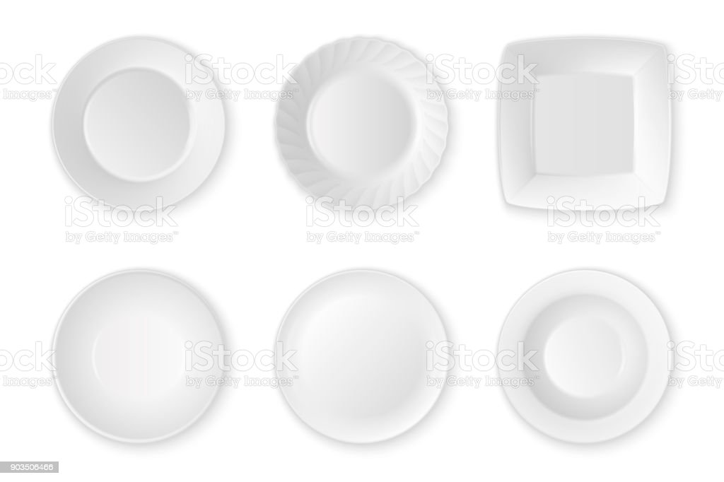 Realistic vector white food empty plate icon set closeup isolated on white background. Kitchen appliances utensils for eating. Design template, mock up for graphics, printing etc. Top view