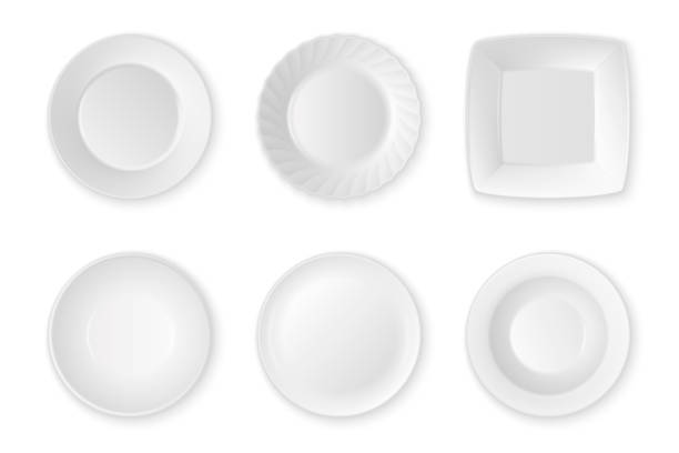 illustrazioni stock, clip art, cartoni animati e icone di tendenza di realistic vector white food empty plate icon set closeup isolated on white background. kitchen appliances utensils for eating. design template, mock up for graphics, printing etc. top view - piatto stoviglie