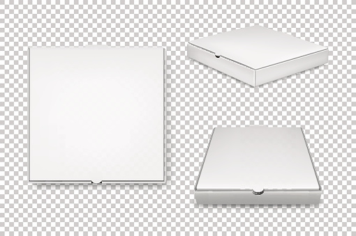 Realistic vector white pizza boxes icon set. Corporate identity and branding elements. Closeup isolated on transparent background. Design template, mockup in EPS10