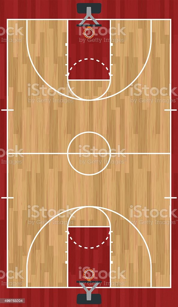 Realistic Vertical Basketball Court Illustration vector art illustration