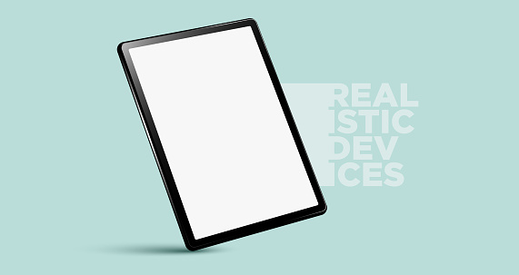 Realistic vertical black tablet pc pad computer mockups