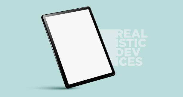 Realistic vertical black tablet pc pad computer mockups vector EPS. ipad stock illustrations