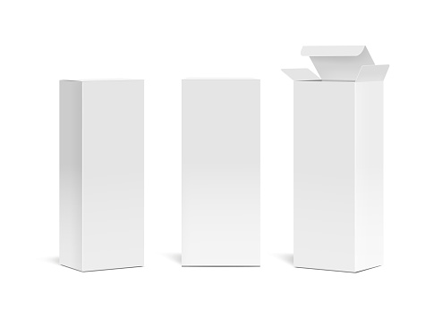Realistic vertical medical cosmetic paper boxes. High white cardboard box mock up.