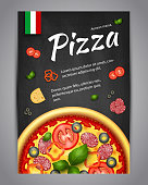 Realistic Pizza Pizzeria flyer vector background. Vertical Italian Pizza poster with ingredients and text on blackboard