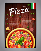 Realistic Pizza Pizzeria flyer vector background. Vertical Italian Pizza poster with ingredients and text on wooden background