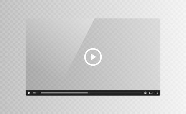 realistic video player glass screen isolated on transparent background. vector illustration - movies stock illustrations