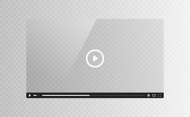 illustrazioni stock, clip art, cartoni animati e icone di tendenza di realistic video player glass screen isolated on transparent background. vector illustration - cinema
