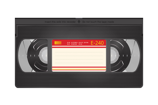 Realistic Video Recorder Tape. Video Cassette Isolated on a White Background
